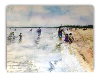 Watercolor art print mounted on wood panel — ready to hang — Montrose Beach-people and families walking on the shoreline
