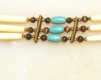 Hairbone, Tigereye and Turquoise Choker ch1