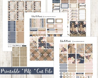 Falltime Hamptons Printable Planner Stickers/Weekly Kit/For Use with Erin Condren/Cutfiles Fall September Glam Plaid Glitter