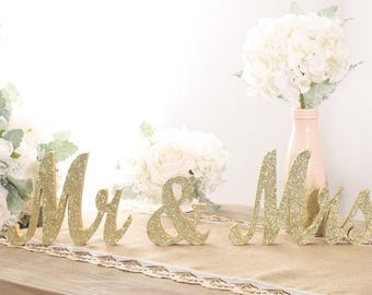 Champagne Gold Glitter Mr and Mrs Sign Wedding Table Signs for Wedding Sweetheart Table Decor/Large Wooden Mr & Mrs Letters/Ship From USA