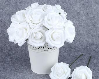 White Wedding Flowers Artificial Roses For Bridal Bouquet, Wedding Flower Centerpieces, Arrangement, Decoration 50pcs White Fake Flowers