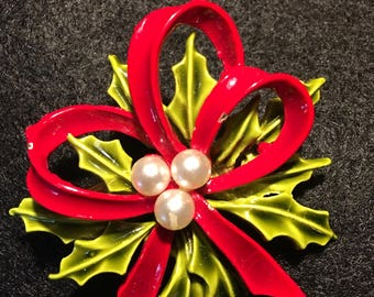 Beautiful Vintage Christmas Holly with Red Ribbon and Pearl Brooch. Signed ART