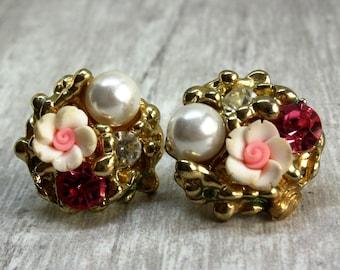 vintage crystal pink flower pearl earrings,flower stud earrings,gold stud earrings