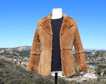 Vintage 70s Brown Vegan Shearling Jacket
