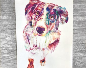 Australian Shepherd Print | Australain Shepherd Art | Australian Shepherd | Shepherd Art | Dog Art | Australian Shepherd gift | Dog print
