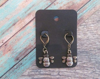Bee Earrings, Rhinestone Bee Earrings, Honey Bee Earrings, Bee Jewelry, Bee Dangle Earrings, Rustic Jewelry, Nature Jewelry
