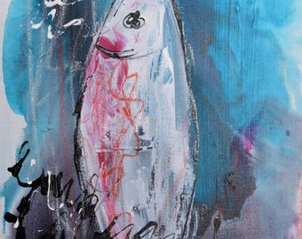 table solo sardine calligraphy pink dark indigo blue ink