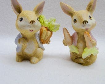 HOMCO Porcelain Bunny Rabbit Figurines #1410