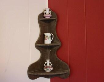 Wooden Corner Shelf, Small Corner Knick Knack Shelf