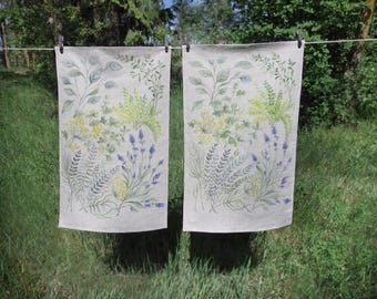 Hand painted linen tea towel (made to order)