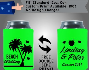 Beach Wedding! Name & Name Wedding Date Collapsible Fabric Wedding Cooler Double Side Print (W353) 100% Custom