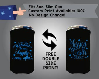 Welcome To Our Happily Ever After Name & Name Date 8oz Slim Can Wedding Cooler Double Side Print (8SC-W7)