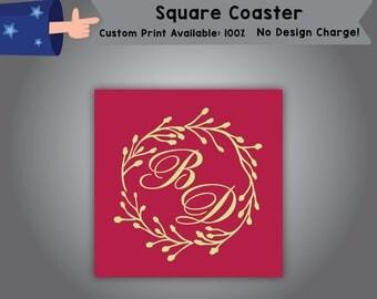 Initials Square Coaster Wedding Single Side Print (C-W9)
