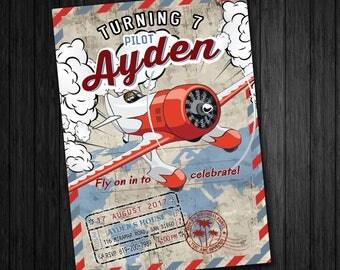 Airplane invitation, Airplane Birthday invitation, Airplane invite, Pilot invite, Pilot invitation, Airplane printables, Retro Airplane