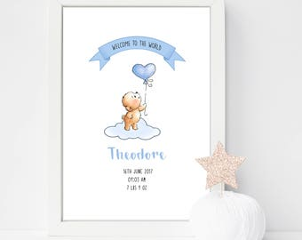 A4 Personalised Welcome to the World Teddy Bear with Balloon Birth Detail Announcement Nursery Print