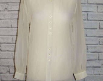 Size 10 vintage 90s long sleeve/length loose cuffed blouse sheer ivory (IA94)