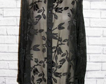 Size 20 vintage 90s long sleeve oversize shirt sheer black floral print (IB05)