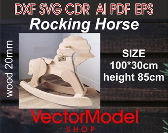 Wooden Rocking Horse template vector cutting files gift DXF eps SVG CNC
