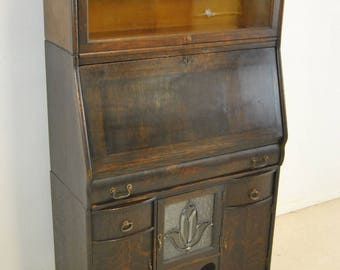 Antique Oak Stackable Drop Front Desk Secretary