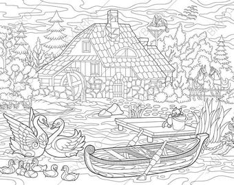 rural landscape farm house and animals coloring pages coloring book pages for kids - Landscape Coloring Pages