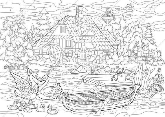 rural landscape farm house and animals coloring pages. Black Bedroom Furniture Sets. Home Design Ideas