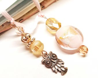 Champagne Pink Rose Gold Copper Owl Planner Bead Charm  Bookmark for Standard Midori Traveler's Notebook Journal Book TN