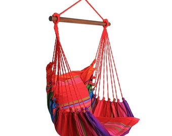 Hanging Chair RELAX, cotton stripes, up to 120 kg, without pillows, #272