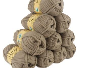 10 x 50 g (= 500 g) felt wool MILLY #36 camel, wool for knitting felting