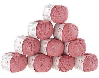 10 x 50 g knitting wool cotton glamorous #29 old rose