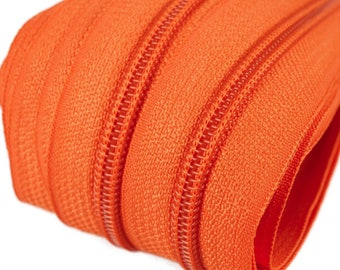 6m of endless zipper 5mm with 15 zippers and tails 158 orange