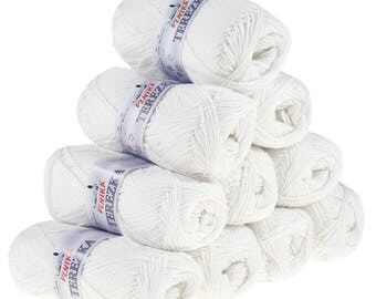 10 x 50 g knitting wool TEREZKA white 100% cotton, #101