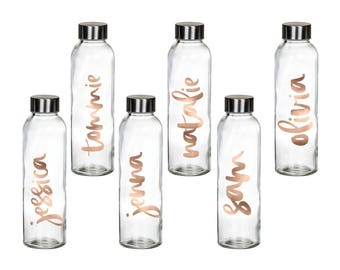 Set of 6 Personalized Water Bottle - Personalized Glass Water Bottle - Bridesmaids Gift - Gold Personalized Tumbler GB001