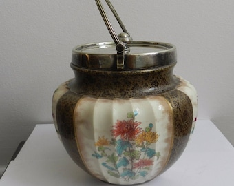 Vintage Royal Satsuma Chinese Lidded Jar Hand Painted