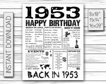 1953 years ago, Born in 1953, back in 1953, Birthday Sign, Adult Birthday, Birthday Gift, 1953 History, Poster, DIGITAL FILE