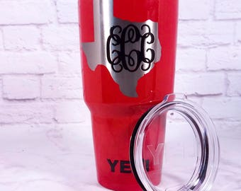 State Outline Tumbler - Home State Pride Monogram Tumbler - Choose Any Color - Powder Coated State Tumbler - State Decal