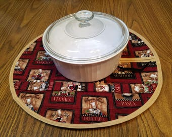 Round 4 Quart Casserole Carrier/Hot Food Tote/Chef Pattern/Drawstring Closure/Sturdy Handles/Home and Living/Gift for Her/Housewarming Gift