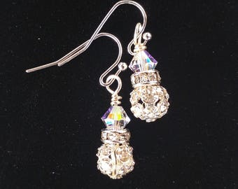 Swarovski AB Crystal and rhinestone earrings, crystal  earrings, elegant earrings, earrings for her