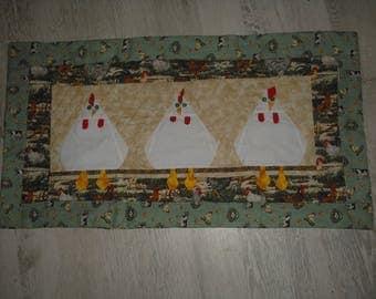 canvas patchwork patterns three hens in cotton