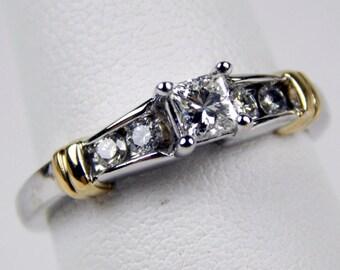 14k yellow white gold diamond engagement ring #10578