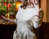 RESERVEE pour IRENE - Robe courte annees 40 en crepe de soie ivoire,robe retro annees 40 en soie creme