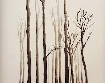 trees watercolor painting, original artwork, timberland,forest, mist, not print, handmade, modern minimalist, nature, homedecor, wall décor
