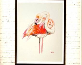 Summer art, flamingo art, watercolor painting, original artwork, bird art, not print, home décor, blush pink,tropical,wall décor,nursery