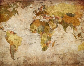 """24""""X36"""" World Map Canvas - Old Fashioned, Antique-Style, Faded-Color World Map Wall Art - Canvas with Internal Wooden Frame"""