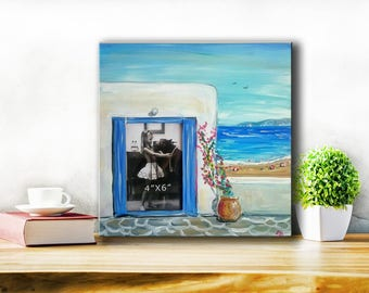 Greek island Photoframe,gifts and mementos from Greece,personalized gift,home deco gift original handpainted artwork,anniversary gift,greece