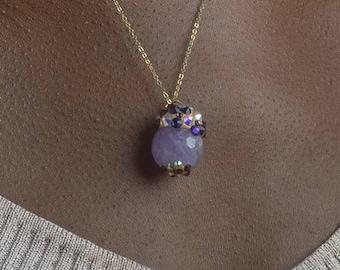 Amethyst Lavender Swarovski Fairy Pendant Necklace - Crystal Healing Fairy Jewelry. Raw Quartz Organic Stone Chakra Balancing Stones