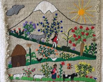 Adorable Vintage Handmade Embroidered Folk Art Textile Wall Hanging Made in Ecuador