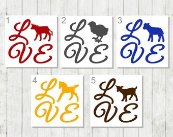 Farm Animal Decal, Cow Decal, Horse Decal, Chicken Decal, Farm House Decor, Gift for Farmer, Animal Lover Decal, 4H Decal, Livestock Decal