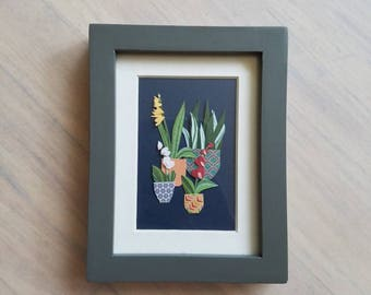 The Little Orchidarium - Framed Original Art 4.5in x 3.5in
