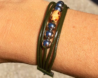 Army green leather cord beaded bracelet