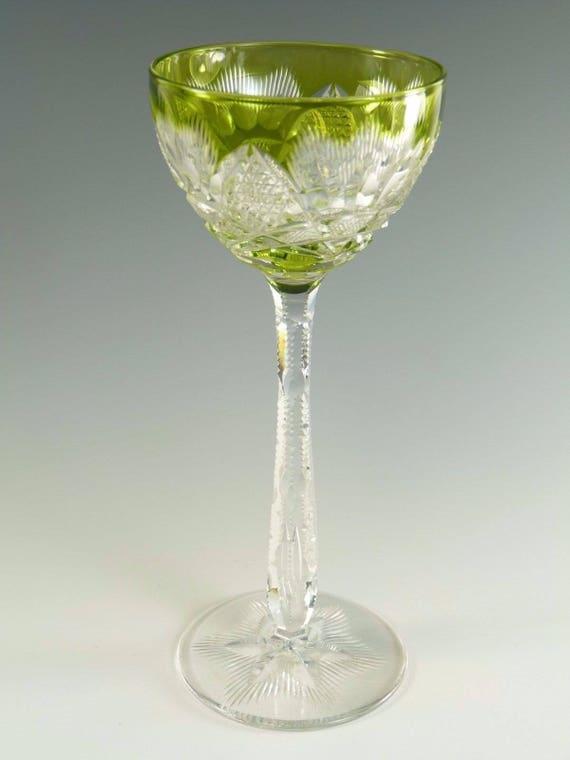 Val St Lambert Crystal Antique Cut Hock Wine Glass